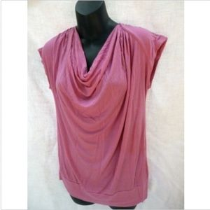 Pleione Cap Sleeve Drape Neck Top Shirt Pink M